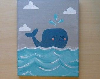 Whale Nursery Art, Whale painting, Ocean Nursery decor, Whale Wall art, Baby boy decor, Nautical nursery, Sea creature, 8x10 canvas art teal