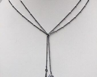 Black Ice Oxidized Sterling Silver Pave Diamond Spike & Drusy Quartz Lariat Necklace, High Vibration, Music Festival Accessories