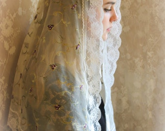 Evintage Veils~ St Therese Little Flower  Embroidered Sweet Violets Lace Chapel Veil Mantilla Latin Mass LONG Veil