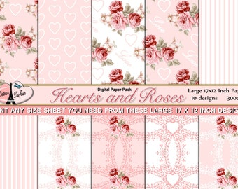 """10 Shabby Chic Digital Paper Pack, 11 x 17 Papers, Hearts, Lace, Orange Rose Scrapbook Paper 12 x 12, Floral Background Paper, OSFM 17 x 12"""""""
