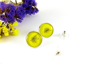 Yellow earrings Yellow stud earrings Yellow post earrings Circle earrings Sunny earrings Summer jewelry Make love Gift for sweetheart