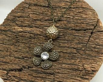 Vintage Antiqued Flower Pendant Necklace