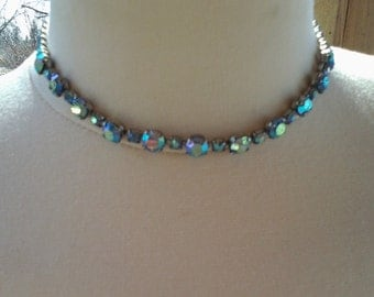 Beautiful Retro 1940's Blue Rhinestone Choker with Clear Stones