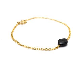 Dainty Onyx Bracelet/ Thin Onyx Bracelet/ Gold Onyx Bracelet/ Black Onyx Bracelet/ Thin Black Bracelet