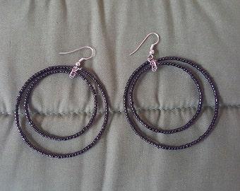 Black Dangling Beaded Earrings