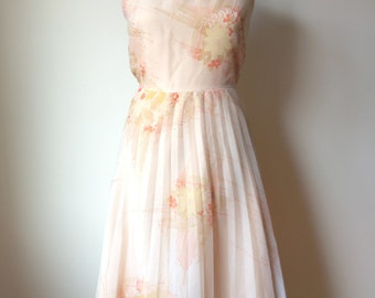 Vintage 70s Midi Dress, 70s Dress, 70s Pleated Dress, 70s Summer Dress, 70s Chiffon Dress, 70s Spaghetti Strap Dress, 70s Party Dress