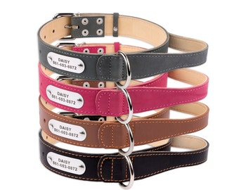 Leather Dog Collar L XL with Handle Personalized Pink Black Brown Grey