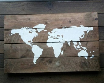 Wooden sign world map