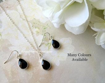 Black Earrings-Black Necklace-Bridesmaid Necklace-Bridesmaid Earrings-Crystal Earrings-Crystal Necklace-Black Drop Earrings And Necklace