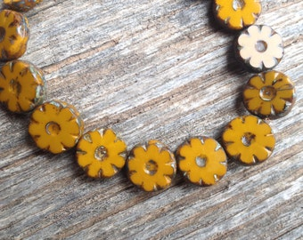 Czech Picasso Artisan 12 mm Flat Flower Table Cut Beads - Mustard Yellow Orange - 15 Beads