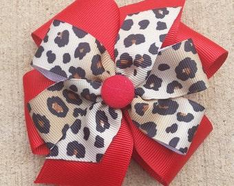 Cheetah PinWheel Hair Bow