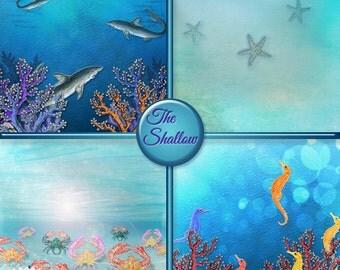 SHALLOW OCEAN PAPER, Ocean Scrapbook Paper, Starfish, Sea Horse, Shark, Crab, Ocean Fish, Blue Water Scrapbook Paper, Instant Download