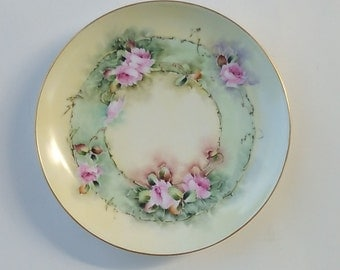 Mid Century Provost Hand Painted Floral Porcelain Plate Signed .Collectible Plate. Green Pink Floral Porcelain Plate 1950s, Home Decoration