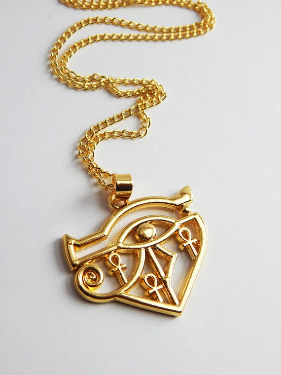 Gold egyptian eye of ra with ankh pendant necklace ankh te gusta este artculo aloadofball Images