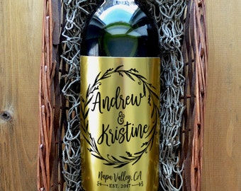 Wedding Wine Label - Custom Wedding Wine Label - Personalized Wedding Wine Label - Pack of 4 Labels