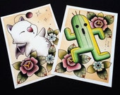 LIMITED TIME OFFER! Moogle & Cactuar Tattoo Flash Prints by Michelle Coffee featured image