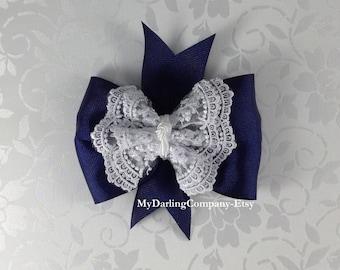 Navy Wedding Navy Flower Girl Navy Bridesmaid  Navy Lace Bow Navy Toddler Dress Navy Prom Navy Quinceanera Navy Girls Dress