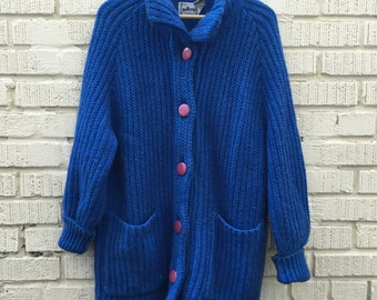 Vintage Blue Knit Oversize Sweater. Button Up. Cardigan. Coat. Gallery. Small. Medium. Wool Blend.
