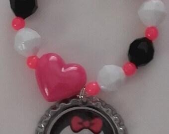 Monster High Bracelet, Girls Monster Bracelet,Pink and Black Monster High Bracelet,Monster High Inspired,Party Bracelet,Party Favor Bracelet