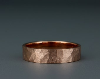 14K Rose Gold Men's Wedding Ring   Handmade solid 14k rose gold Faceted/Textured men's wedding band      3mm 4mm 5mm 6mm 7mm