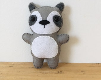 Tiny Felt Raccoon Stuffed Animal
