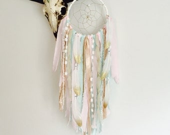 Pink and Gold Dream Catcher, Dreamcatcher, Wall Hanging Dreamcatcher, Bohemian, Girl Nursery Decor, Tapestry, Boho Decor
