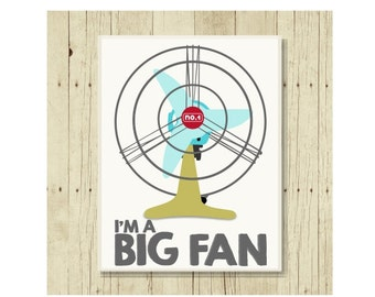 Big Fan Magnet, Funny Pun Magnet, Refrigerator Magnet, Retro Fan, Gifts Under 10, Small Gift, I'm a Big Fan, Congratulations Gift