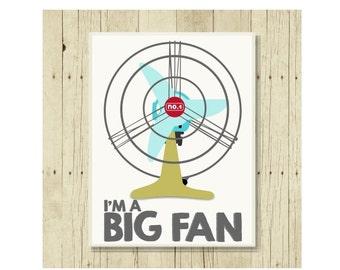 Big Fan Magnet, Funny Pun Magnet, Refrigerator Magnet, Retro Fan, Gifts Under 10, Small Gift, I'm a Big Fan, Congratulations Gift