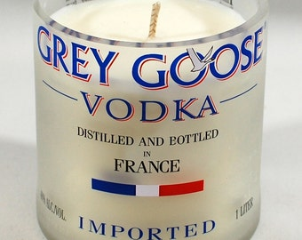 Handcrafted Soy Candle - Created from a Reclaimed Grey Goose Vodka Bottle