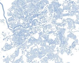 Bristol Map - Buildings - City Map Art Print of Bristol, England