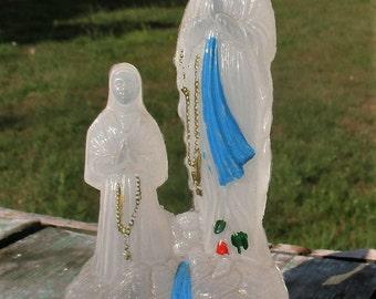 Rare Lourdes Virgin Mary Bernadette Plastic Bottle Statuette Holy water French