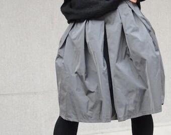 Midi skirt, high waisted skirt, skirt with pockets, High waisted skirt, high waist skirt, grey midi skirt, taffeta skirt, maxi skirt