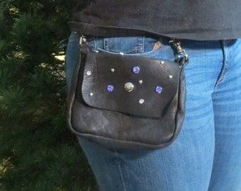 Rustic Deerskin Belt Loop Gusset Hip Bag, Black with Purple Gem Studs
