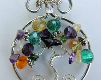 Mardi Gras Raven Crow Amethyst Chrome Diopside Glass Tree of Life Pendant
