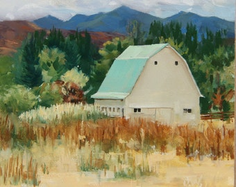 The White Barn on the Corner, Original Plein-air painting, Oil on Gessobord, 6x6 inches