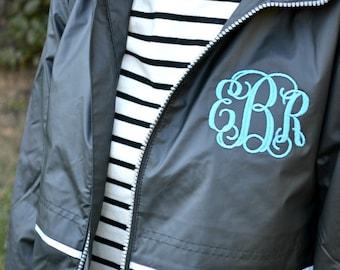 Monogrammed Rain Jacket, Personalized Rain Coat, Women's Hooded Rain Jacket, Monogram Outerwear, Black Rain Jacket, Women's Jacket