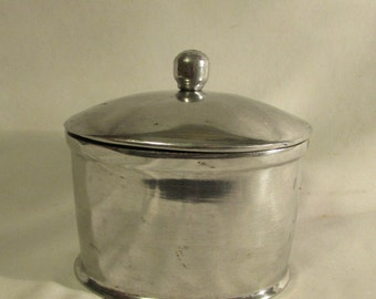 Oval Cast Aluminum Box, Trinkets, Jewelry, Bath Items, 1990's
