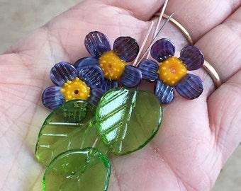 Purple flower and green leaf glass bead  Realistic glass lampwork bead Murano glass Flower Glass  beads