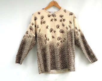 Vintage sweater / ANIMAL PRINT sweater / floral NOVELTY  sweater