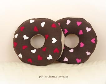 Donut Pillow, Valentine Donut Pillow, Heart Donut Pillow, Food Pillow, Doughnut Pillow, Chocolate Frosted Doughnut, Toy Pillow, 3D Pillow