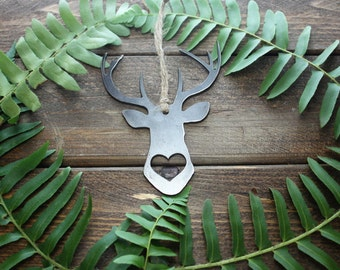 Deer Ornament Rustic Raw Steel Metal Recycled Heart Christmas Tree Ornament Holiday Gift Industrial Decor Wedding Favor By BE Creations