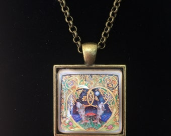 Pisces Postage Stamp Necklace