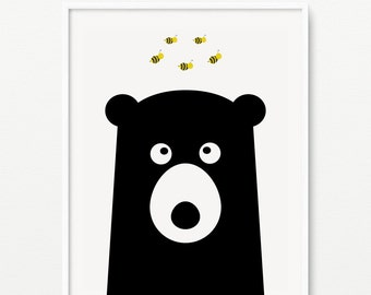 Woodland nursery wall art- Honey Bear print- Black and white modern kids room decor- (AP-002)