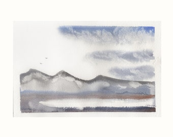 """Mountains 2 by Lanna Borom (7 1/8"""" x 11"""") Original Watercolor painting"""