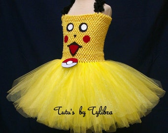 Pokemon Pikachu Theme Party Costume, Yellow Tutu Dress, Halloween Tutu