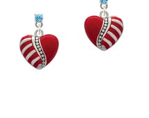 Striped Red Heart Crystal Post Earrings - Silver Plated Love Jewelry, Valentines Day Gifts Select Color: Clear, Red, Black, Etc ESCP-C1033