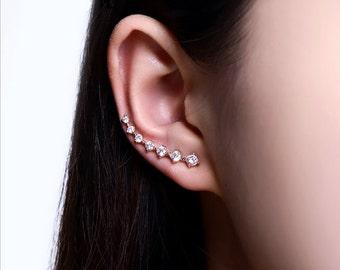Rose Gold Ear Climber -  Ear Cuf - Cubic Zirconia Ear Climber - Crystal Ear Climber - Ear Jacket - Ear Crawler - CZ Ear Climber - AE0197