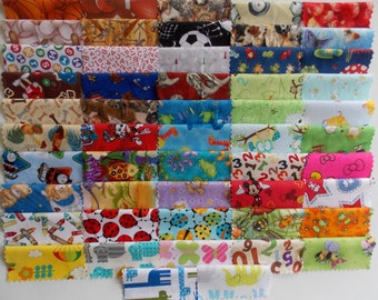 "I Spy 50 Piece Charm Pack 5"" Squares Quilt Fabric No Duplicates Premium Cotton Baby Children Lap Blankets"