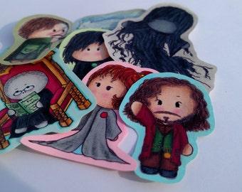 Harry Potter Sticker Set, hand drawn, hand made, Hermione Granger, Ron Weasley, slytherin, gryffindor, hufflepuff, ravenclaw, baby, cute