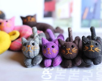 CAT, 50 Cat pin brooches, Animal brooch, Fabric cat plush